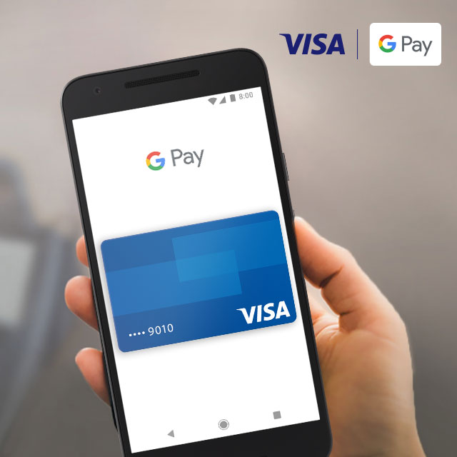 Smart phone displaying Visa Google Pay.