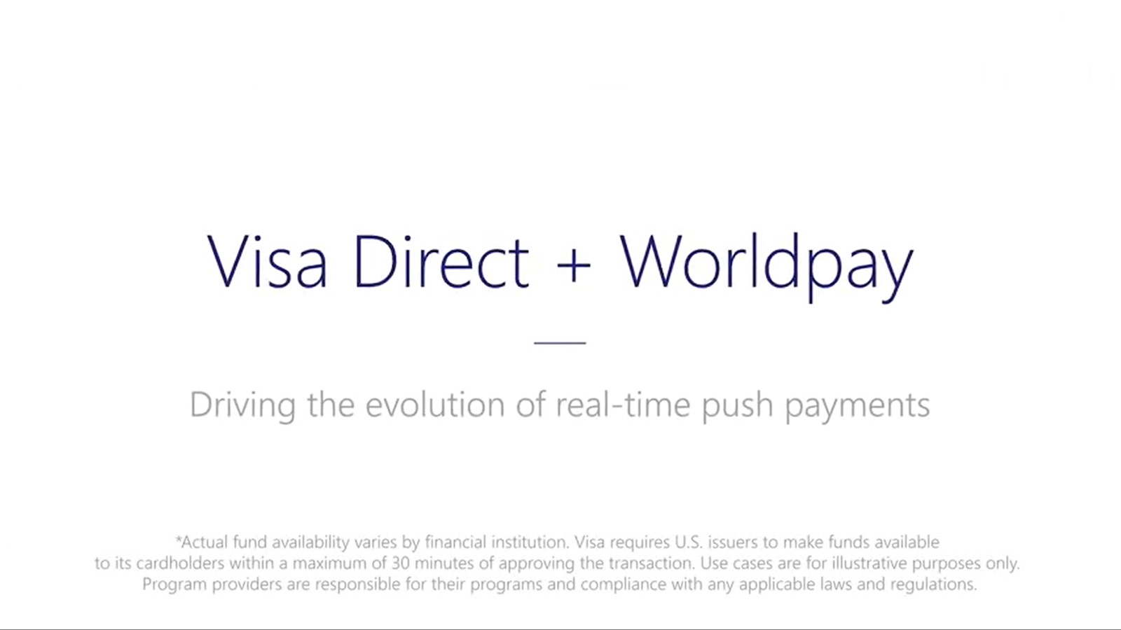Visa Direct plus Worldpay video screenshot
